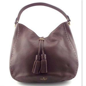 KATE SPADE Brown Pebble Tassel Hobo Shoulder Bag
